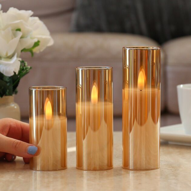 Battery LED Candle in Smoked Amber Glass Cylinder, 3 Pack