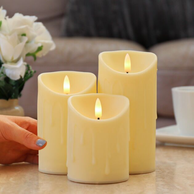 Ivory Battery Flickering  Candles, 3 Pack