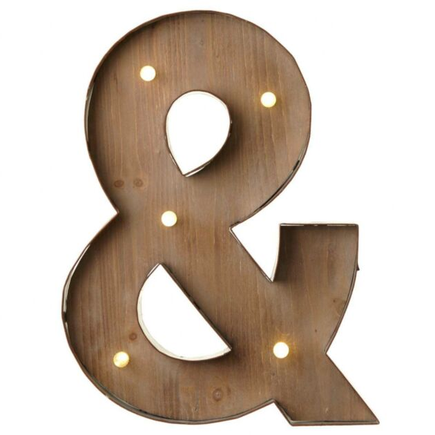 Wood & Metal '&' Battery Light Up Circus Letter, 41cm