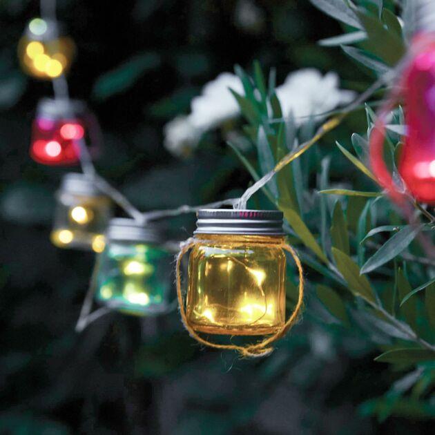 Solar Multi Coloured Glass Jar Fairy Lights