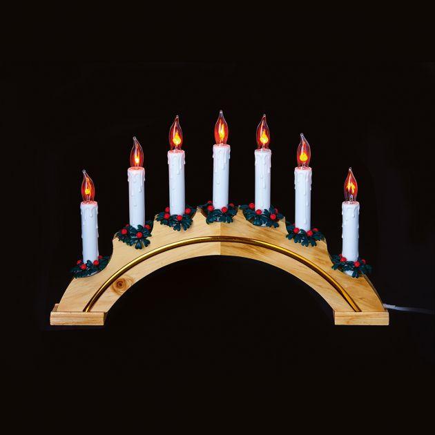29cm Wooden Candle Bridge, 7 Flickering Bulbs