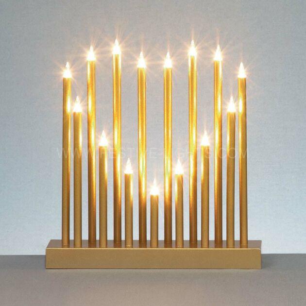 Gold Heart Shaped Candle Bridge, 15 Warm White Filament Bulbs
