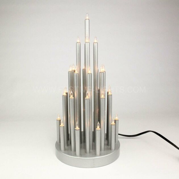 33cm Silver Tiered Effect Candle Bridge, 33 Warm White LEDs