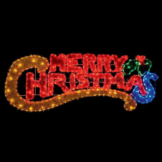 1.45m Outdoor Merry Christmas Tinsel Silhouette, 85 Multi Colour LEDs