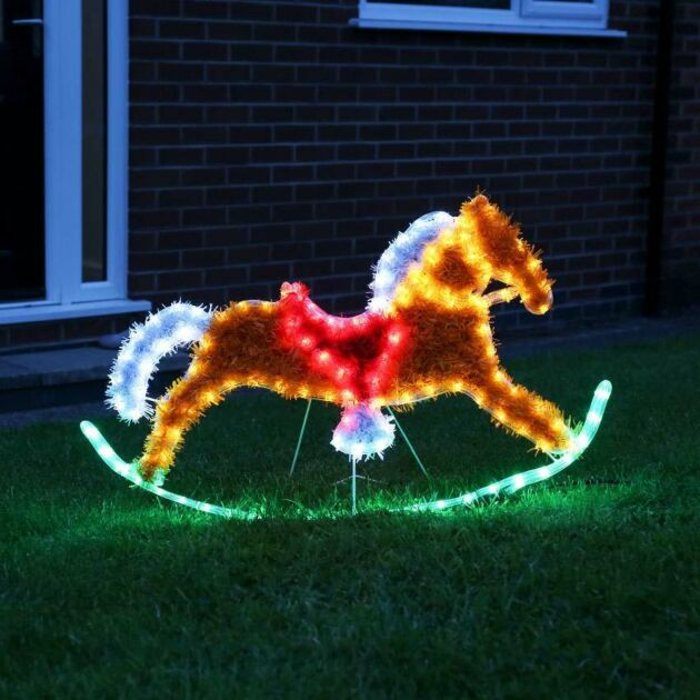 90cm Outdoor Rocking Horse Tinsel Christmas Silhouette, 144 Multi Colour LEDs
