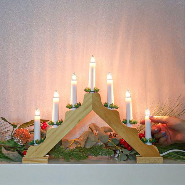 39cm Wooden Candle Bridge, 7 Warm White LEDs