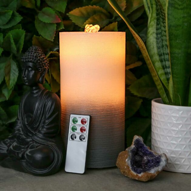 Battery Grey Bubbling Water LED Candle
