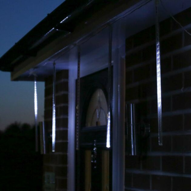 2m Snowing Shower Icicle Lights, 150 White LEDs, 5 x 50cm drops