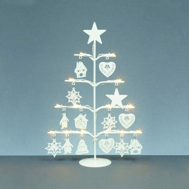 48cm Christmas Tree with Wooden Decorations, Warm White LEDs