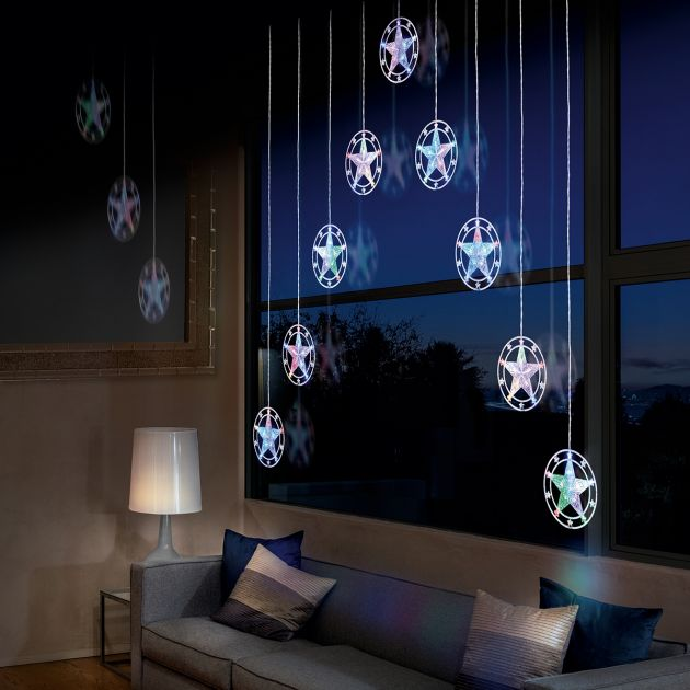 1.2m x 1.2m Curtain Light with Stars, 90 White and Colour Changing LEDs