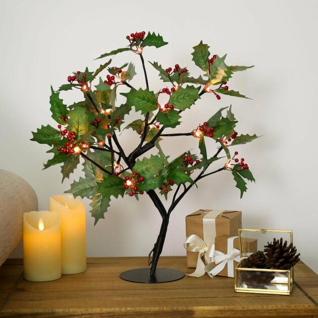 45cm Christmas Holly Leaf Tree with Red Berries