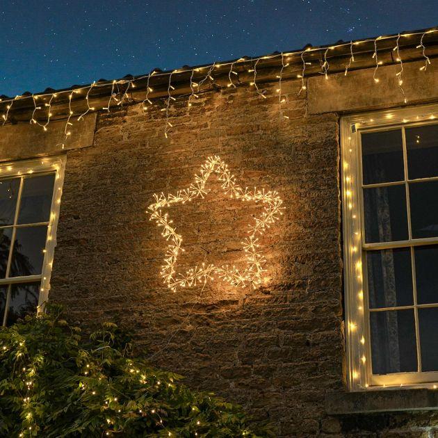 90cm Starburst Star Christmas Silhouette, 320 Warm White LEDs