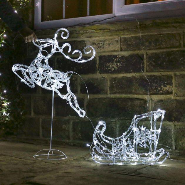 1m Acrylic Sleigh with Reindeer Figure, White Flash Bulb LEDs