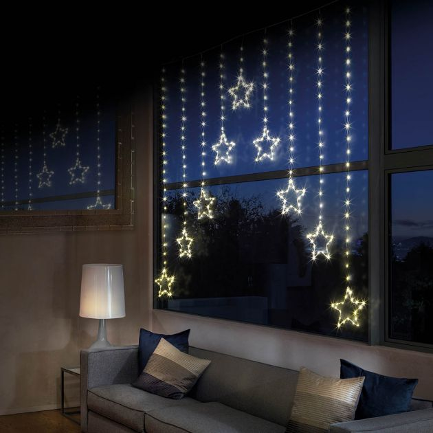 1.2m x 1.2m Firefly Wire Star Curtain Lights. 483 Warm White LEDs