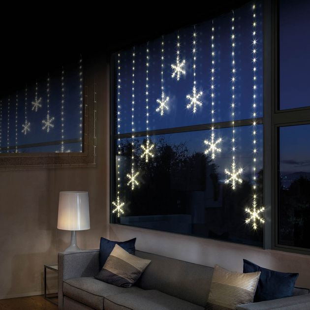 1.2m x 1.2m Firefly Wire Snowflake Curtain Lights. 339 Warm White LEDs