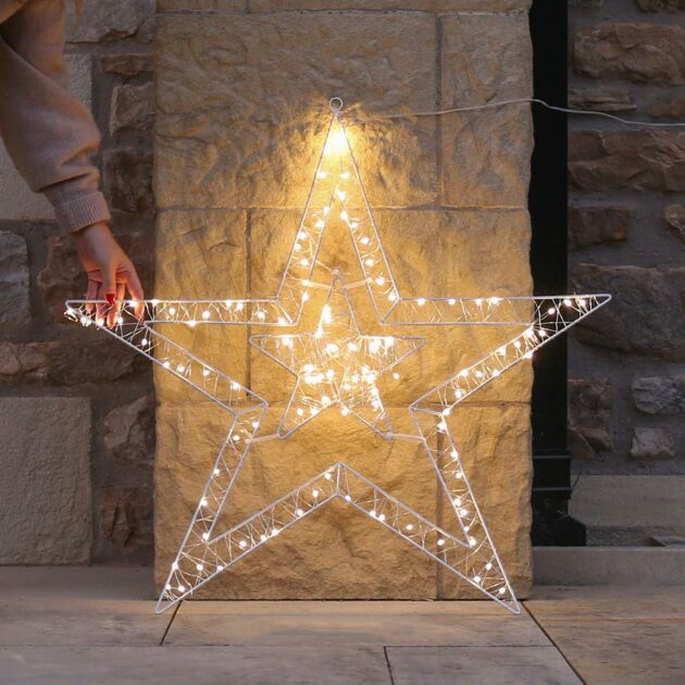80cm Outdoor Firefly Wire Star Christmas Silhouette