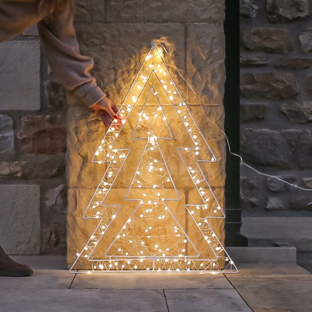 80cm Outdoor Firefly Wire Tree Christmas Silhouette