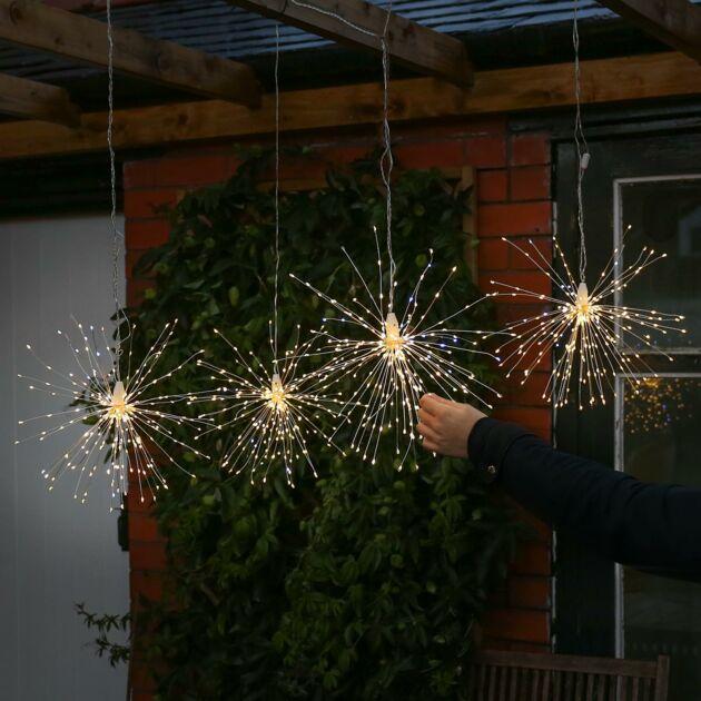 38cm Sparkle Firefly Starburst Light, 960 White & Warm White Flashing LEDs, 4 Pack