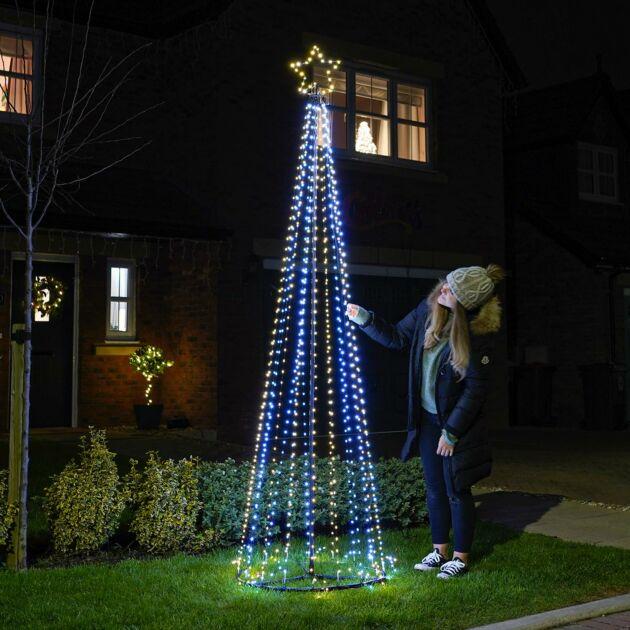 2.5m Outdoor Firefly LED Christmas Tree, 889 White & Warm White LEDs
