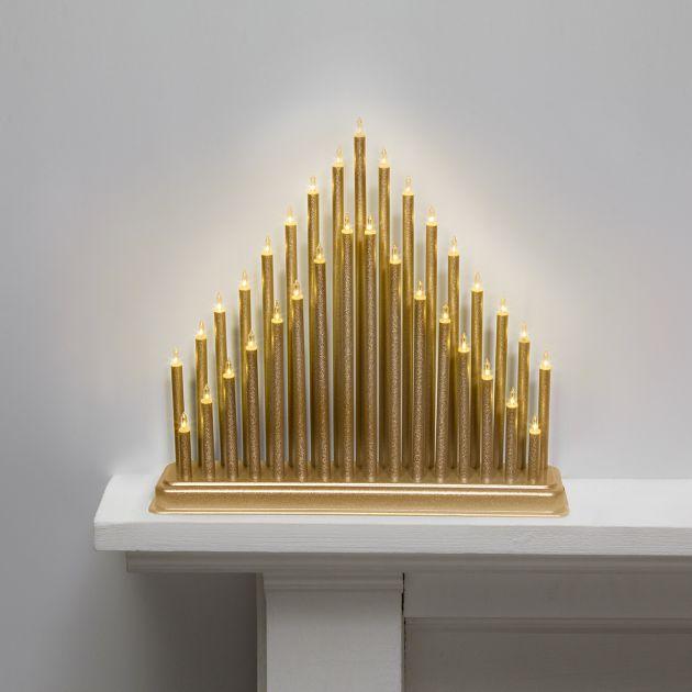 36cm Gold Candle Bridge, 33 Warm White LEDs
