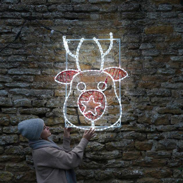 1.1m Large Outdoor Reindeer Motif, Twinkle LEDs