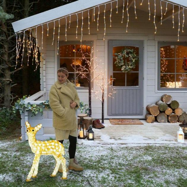 81cm Brown Baby Reindeer Commercial Sculpture, 560 White LEDs