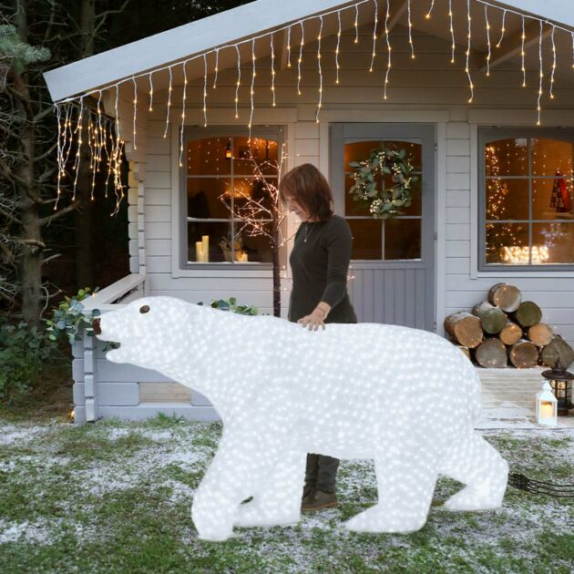 2m Large Male Polar Bear Commercial Sculpture, 4,000 White LEDs