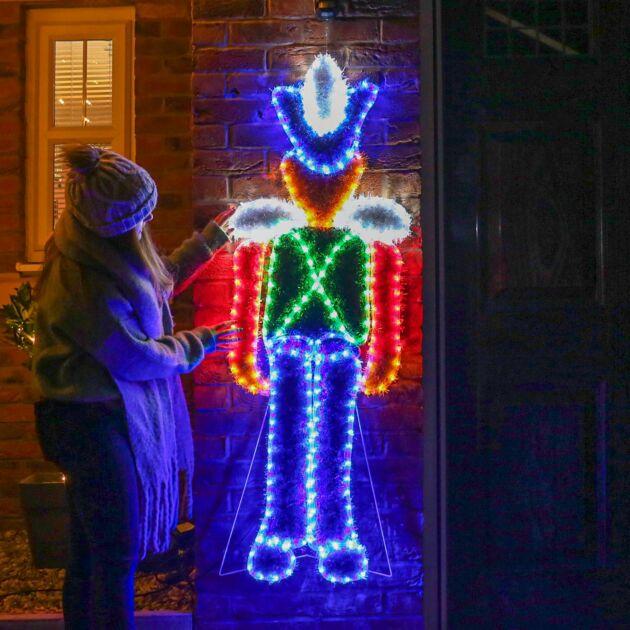 1.5m Outdoor Nutcracker Tinsel Christmas Silhouette, 240 Multi  Colour LEDs