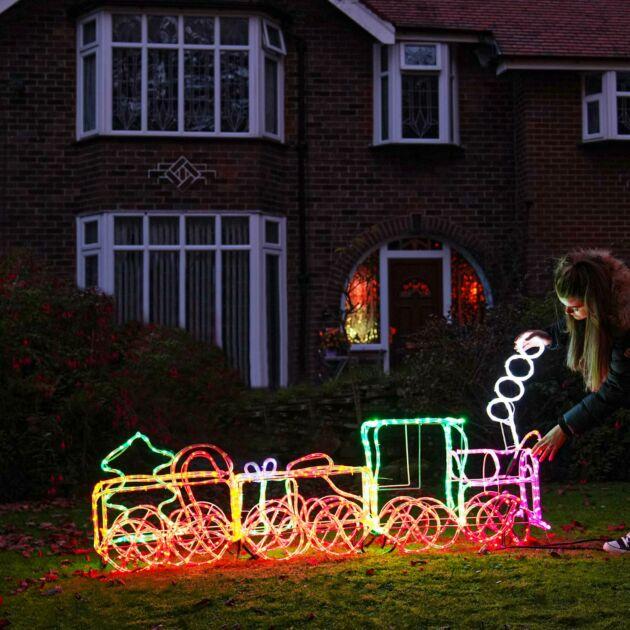 1.95m Outdoor 3D Train Rope Light Christmas Silhouette, 960 Multi Colour LEDs