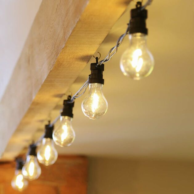 ConnectPro Large A60 Festoon Lights, Connectable, Filament Effect Clear LED Bulbs, Black Rubber Cable