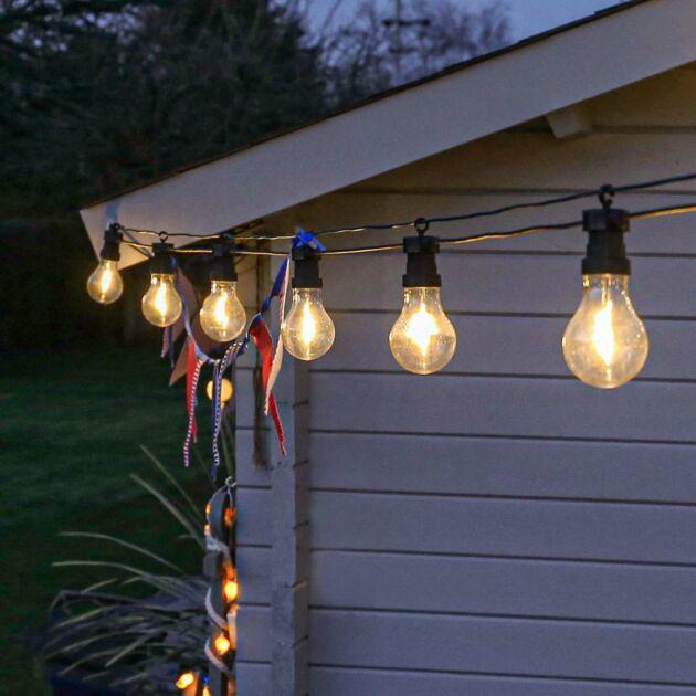Outdoor Plug In Filament Effect Warm White LED Festoon Lights