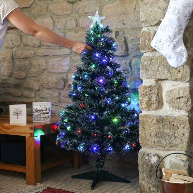4ft Fibre Optic Christmas Tree, Multi Coloured LEDs