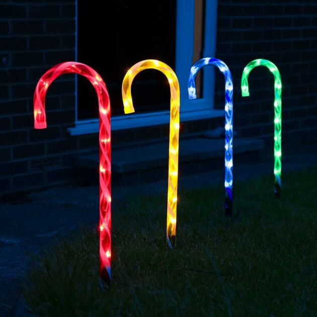 Outdoor Multi Colour Multi Function Candy Cane Christmas Stake Lights, 4 Pack