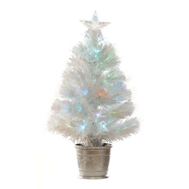 2ft Fibre Optic White Christmas Tree, Multi Coloured LED