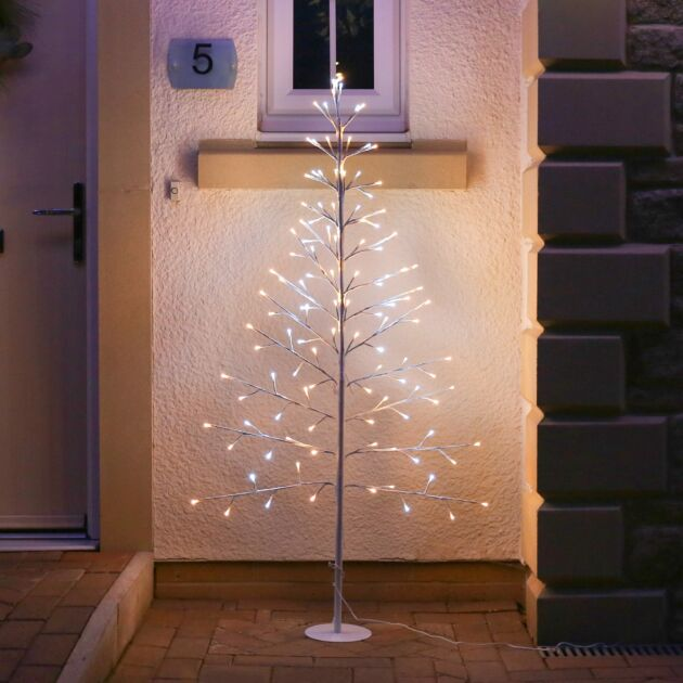 Outdoor Pre-Lit Flat Christmas Twig Tree