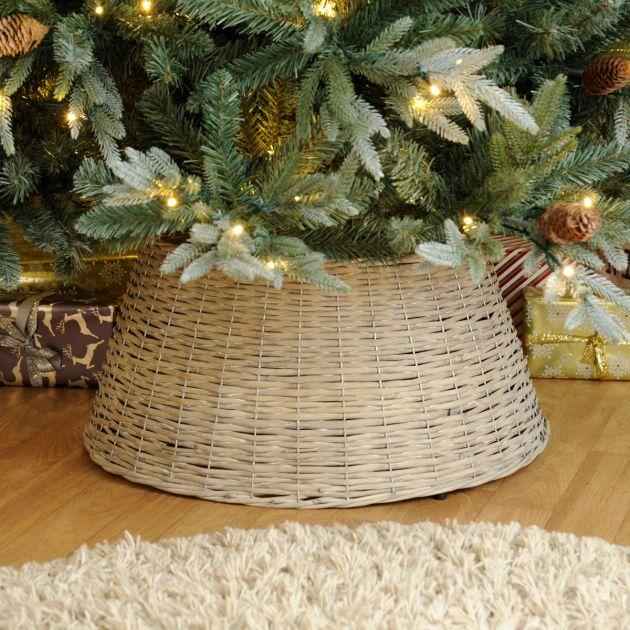 40cm x 57cm Rustic White Willow Christmas Tree Skirt