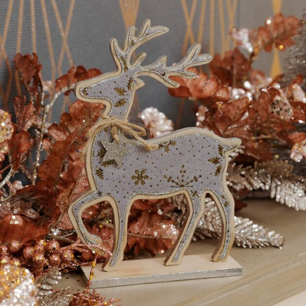 20cm Wooden and Grey Suede Effect Table Top Reindeer Decoration