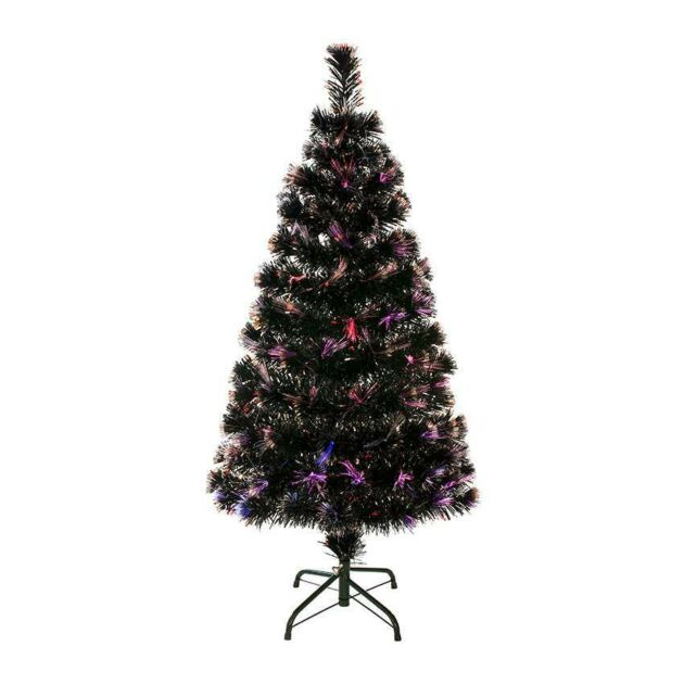 6ft Green Fibre Optic Christmas Tree with Silver Tips, Multi Colour LEDs