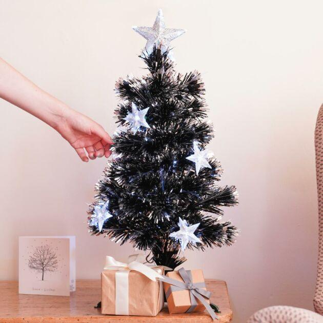2ft Fibre Optic Christmas Tree with Stars