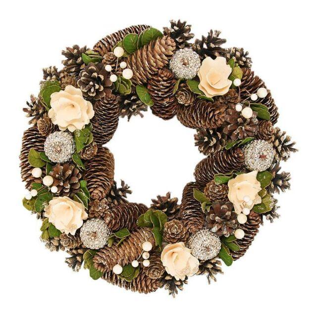 36cm Cream and Gold Decoration Christmas Wreath