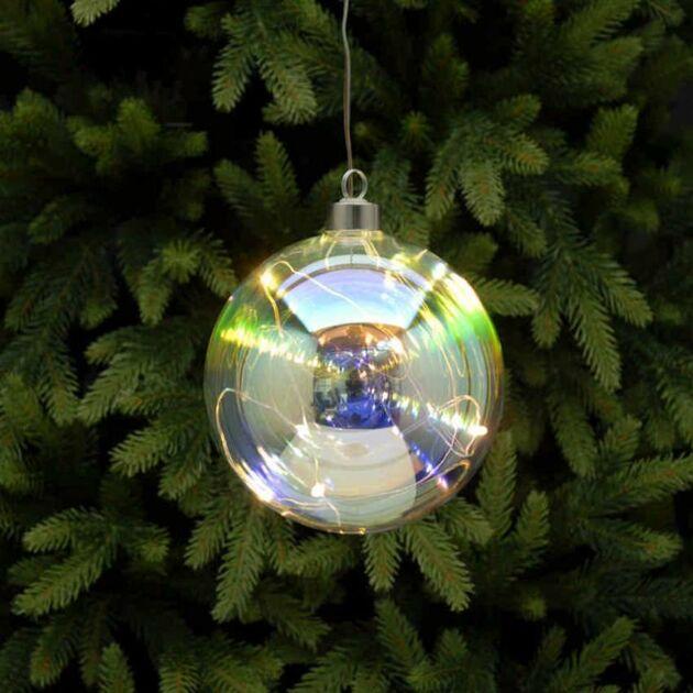 Battery Rainbow Glass Christmas Tree LED Bauble