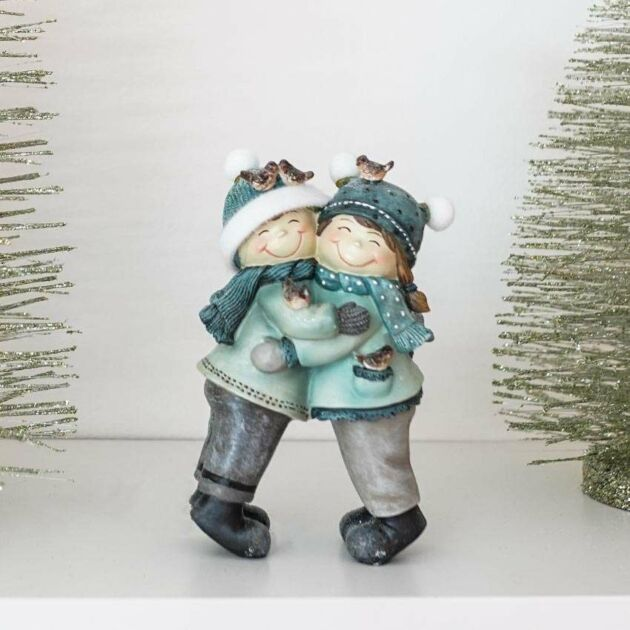 16cm Hugging Boy and Girl Tabletop Christmas Decoration