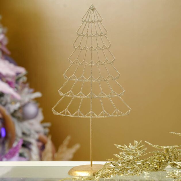 29.5cm Gold Metal Table Top Christmas Tree