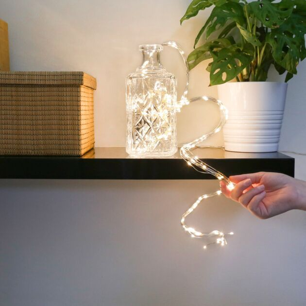 2m Christmas Tree Silver Firefly Multi Strand Branch Lights, 200 Warm White LEDs