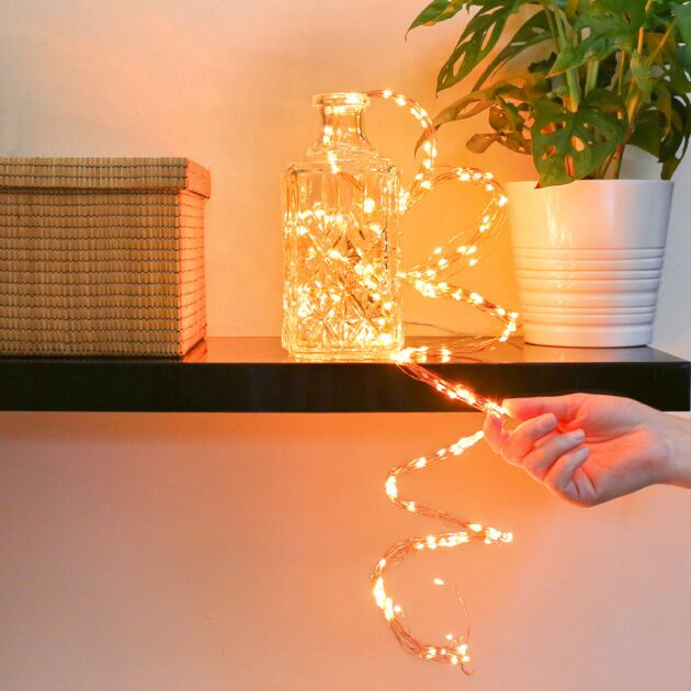 2m Christmas Tree Copper Firefly Multi Strand Branch Lights, 200 Amber LEDs