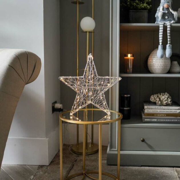 Hanging Firefly Star Decoration, Warm White Twinkling LEDs