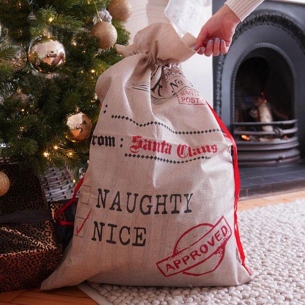 85cm Grey Naughty or Nice Christmas Sack