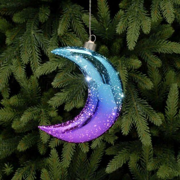 17cm Purple & Blue Battery Glass LED Glittered Moon Christmas Hanging Light