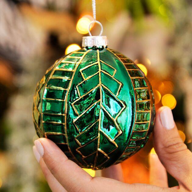 8cm Green Glass Art Deco Christmas Tree Bauble