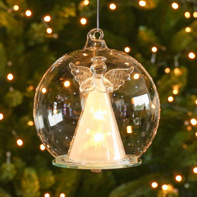 12cm Clear Battery LED Angel Christmas Hanging Light